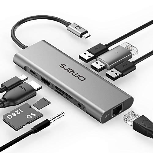 Omars 9-in-1 USB C Hub Adapter mit 4K HDMI, RJ45 Gigabit Ethernet LAN Port, 3 x USB 3.0, Type C Power Delivery, SD/TF Slot, 3.5 mm AUX Audio/Mikrofon für Laptop MacBook Pro Huawei USB-C Geräte -