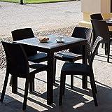 DIMAPLAST Set Resina Rattan Tavolo + 4 Sedie Bar Giardino Terrazzo Locali Balcony Top Antracite