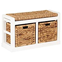 Hartleys 2 Drawer Storage Bench with Wicker Cushion & Baskets