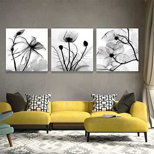 Automatische Inkjet (WSNDG Home Art dreifach schwarz und weiß Blume leinwand schwarz und weiß Blume Dekoration Inkjet Druck wandmalerei ohne bilderrahmen 60 * 60 cm * 3 (kein Rahmen))