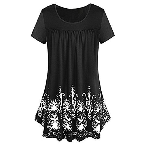 ESAILQ Frauen Solide Reihe Falten Rüschen Geraffte Oansatz Kurzarm Unregelmäßige T-Shirt (XXL, Schwarze-Z)