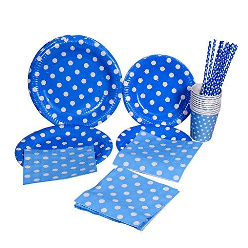�-22,9cm Pappteller, 19,1cm Papier Teller, Papier Trinkhalme, Servietten, Pappbecher-Einweg Geschirr mit Polka Dots für Geburtstag Weihnachten Hochzeit Event Party (blau) ()