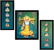 PNF Set of 3 Guru Nanak, Ten Gurus and Golden Temple UV Textured Synthetic Framed Painting (22x14inch,Multicol