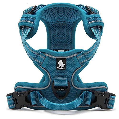 Pettom Einstellbare weich gepolsterter Nein Pull Haustier Hundegeschirr Powergeschirr mit Heavy Duty Griff für Hundetraining oder Walking - Große Hunde Hilfe Brust 49-95 cm variieren von Größe S-M-L-XL (M, Blau)