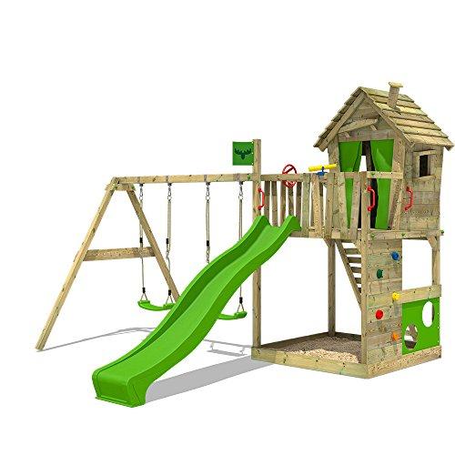FATMOOSE Aire de jeux HappyHome Hot XXL Tour d'escalade en bois Portique de jeux avec 2 pièces de balançoire, toboggan vert clair, bac à sable + Accessoires