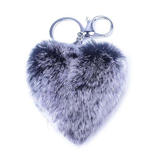 Schwarz Groß Outdoor-hängenden Anhänger (Yogogo Nettes Kaninchen-Pelz-Schlüsselanhänger für Auto-Schlüsselring oder Taschen (Schwarz))