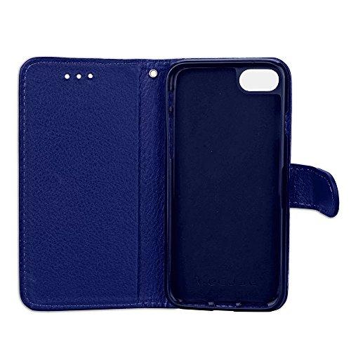 iPhone Case Cover Couleur solide Litchi Grain modèle portefeuille Stand Housse en cuir souple TPU pour Apple IPhone 7 ( Color : Red , Size : IPhone 7 ) Deep Blue