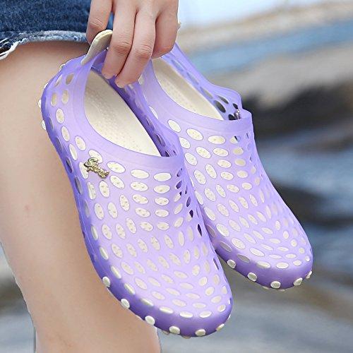 Xing Lin Chaussures DÉté Hommes LÉté De Nouvelles Chaussures Couple Respirant Anti-Dérapant Sandales Hommes Et Femmes Été Plage Marée Marée Chaussures Chaussures purple
