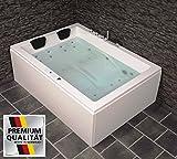 Doppel Whirlpool Badewanne Olymp MADE IN GERMANY 190 x 140 cm mit 24 Massage Düsen + LED Beleuchtung / Licht + Heizung + Ozon Desinfektion + Balboa / DHW + MIT Armaturen Eckwanne rechts oder links