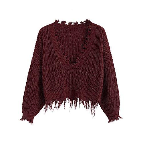 ZAFUL Women's Casual Long Sleeve Loose Knitted Jumper Sweater Pullover Winter Top Outwear (Weinrot)