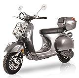 Elektroroller Classico Li, 3000 Watt, E-Scooter, Elektro-Roller, E-Roller mit Straßenzulassung, 45 km/h, herausnehmbarer Lithium-Akku, Produktvideo, Silbergrau