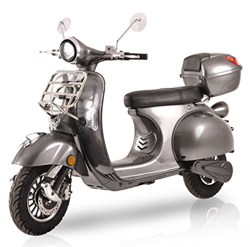 Elektroroller Classico Li, 3000 Watt, E-Scooter, Elektro-Roller, E-Roller mit Straßenzulassung, 45 km/h, 2 herausnehmbare Lithium-Akkus, Produktvideo, Silbergrau