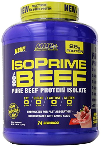 MHP Isoprime 100% Beef Protein Isolate Powder, Strawberry, 4.3 Pound
