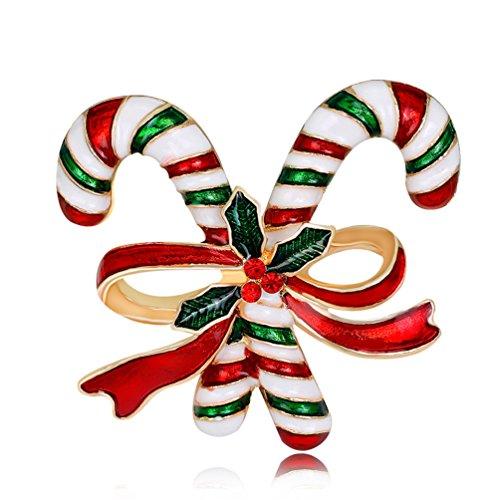 Sanwood Weihnachtsgeschenk Double Zuckerrohr Schleife Brosche Pin Frauen Kunstperlen Sicherheitsverschluss Schal Accessory