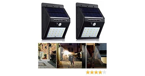 2 X 20 LED Solar Power PIR Motion Sensor Wall Light Outdoor Garden Security Lamp