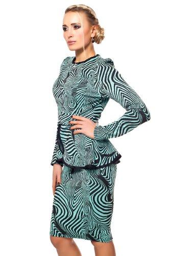 Kostüm mit Pencil Rock & Schößchen (36, Schwarz-Grau) Grün-Schwarz