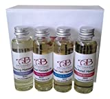 Mini Massage Body Oil Gift Set (4 x 60ml) Lavender, Ylang Ylang, Tea Tree & Peppermint and Rose Geranium in Sweet Almond Ideal Birthday Gift Travel