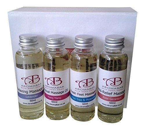 Mini massaggio olio per il corpo set regalo (4 x 60ml) lavanda, ylang ylang, albero del tè e menta piperita e rosa geranio in dolce mandorla ideale regalo compleanno viaggio