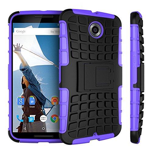 Motorola Nexus 6 Kasten, CaseFirst Reifenstreifen Hybrid Combo Shockproof Rüstung Robuste Dual Layer Case Cover mit Kickstand für Motorola Nexus 6 (Lila)