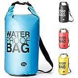 Premium wasserdichte Tasche Dry Bag, Dry Tasche und lang Verstellbarer Schultergurt für Boot und Kajak, Angeln, Rafting, Schwimmen, Camping und Snowboarden - 10L/20L (Blau, 10L)