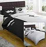 Kings and Queens / His and Hers Super King Duvet Cover Black by Textiles Direct