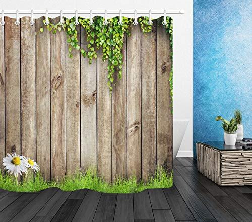 vrupi Pring grünes Gras weiße Blume Kamille Holz Zaun Wohnung Dekoration Kinderzimmer Dekoration 180,9 x 182,9 cm Polyester wasserdicht Stoff inkl. 12 Kunststoffhaken