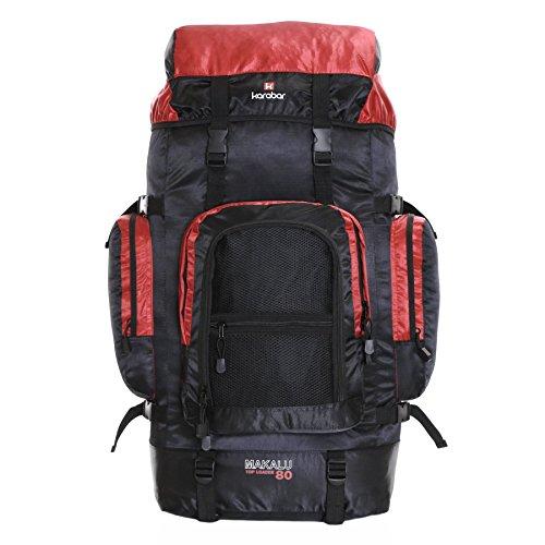 Karabar Makalu 80 litri zaino da viaggio trekking - 10 anni di garanzia, Rosso