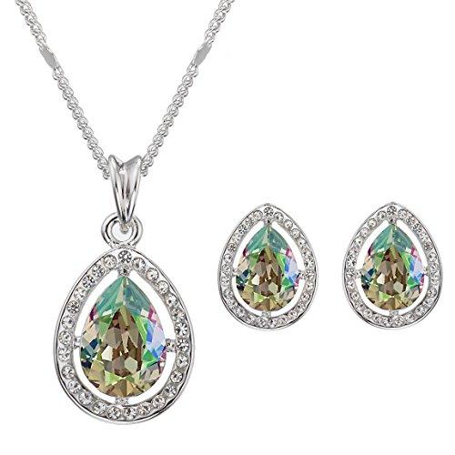 Swarovski Elements Leuchtendes Grün Ohrringe und Halskette Schmuck-Set