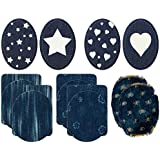 Mono-Quick 307 Jeansflicken Set 14 teilig, Blumen, Streifen, Sterne, Herzen,9.5 x 11.5 cm