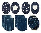 Mono-Quick 307–Toppe Jeans, 14Pezzi, Fiori, a Strisce, Stelle, Cuori, 9,5x 11,5cm