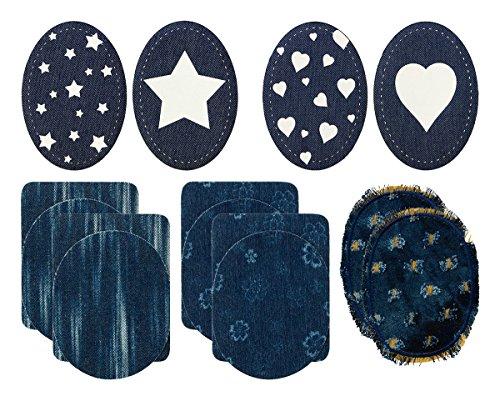 Mono-Quick Flicken, Aufbügler, Aufnäher, Patches, Applikationen, Jeansflicken Set 14 teilig, Blumen, Streifen, Sterne, Herzen, 9.5 x 11.5 cm