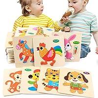 Swiftswan Creative Cartoon Animal Wooden Building Block Jigsaw Puzzle Baby Kid Early Education Toy Birthday Gift