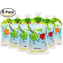 Bolsas de comida para bébés reutilizables (pack de 6 - 175 ml) sin BPA | fácil de llenar y limpiar | ideal para batidos de fruta caseros, papi | adecuado para congelador y lavavajillas