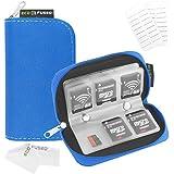 Étui de transport pour carte mémoire - Adapté pour cartes SD et SDHC - 8 pages et 22 logements - Chiffon de Nettoyage en Micro-Fibre ECO-FUSED inclus (Bleu)