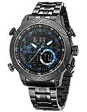 Snaggletooth Shark Herren Quarz Armbanduhr Edelstahl LCD Stoppuhr Alarm SH594