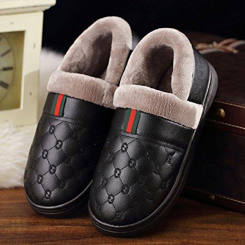 DogHaccd pantofole,Il cotone pantofole uomini pacchetto invernale con la calda coperta spessa soggiorno con pelle PU impermeabile antiscivolo scarpe di cotone coppia femminile Nero3