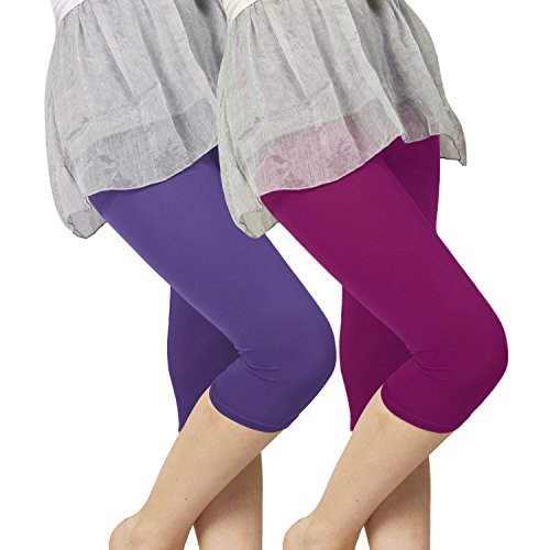 Slassy Women's Cotton 3/4 knee length Leggings Pack of 2 Violet Magenta  available at amazon for Rs.469