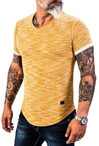 Rock Creek Herren Designer T-Shirt Rundhals Ausschnitt Kurzarm Oversize Shirt Sommershirt Slim Fit Sweatshirt H-151 L Camel (Herren-designer-t-shirts)