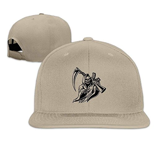 cap so cool Grim Reaper with Gun Unisex Causal Fitted Flat Bill Boarder Hat for Men and Women