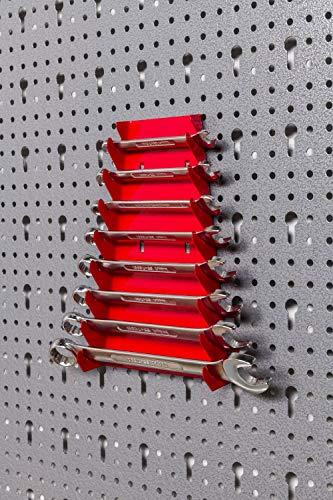 Werkzeughaltersortiment für Euro-Lochwand mit 22 Teilen in Rot – Silber - 5