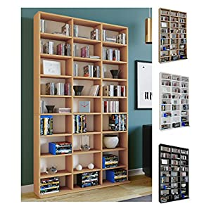 VCM Regal Standregal Medienregal Bücherregal CD DVD Aufbewahrung Holz Raumteiler Wandregal Sonoma-eiche