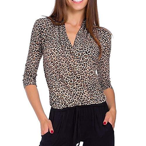 Logobeing Blusas Mujer Elegantes Sexy Camiseta Casual con Cuello En V y Manga Tres Cuartos Superpuesta con Estampado de Leopardo(S,Khaki)