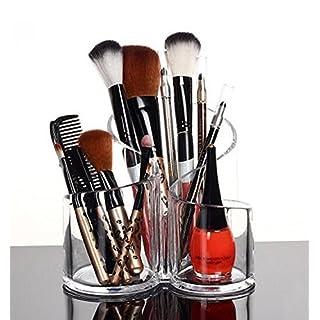 PuTwo Kosmetik Aufbewahrung Schmink Aufbewahrung Pinselhalter Kosmetik Organizer Makeup Organiser aus Acrylic- rund, 3 Abschnitte