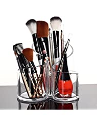 PuTwo Makeup Organiser Brush Holder Birthday Gifts for Her Acrylic Desk Organiser- Round