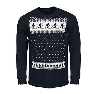 Glow In The Dark Mens Retro Ski Long Sleeve T-shirt - Navy - Alternative to a Christmas Jumper (Medium, Navy)