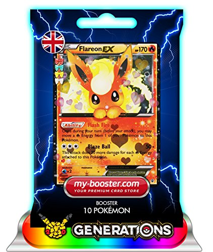 FLAREON EX (Pyroli) RC6/RC32 170HP XY Generations - Booster de 10 cartes Pokemon anglaises my-booster