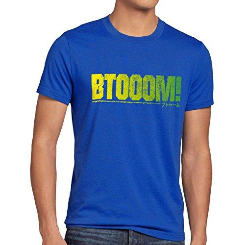 CottonCloud BTOOOM! T-shirt da uomo manga anime, Dimensione:2XL;Colore:blu