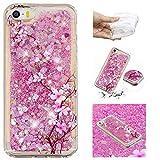 Yobby Cover per iPhone SE/5S/5,Glitter Rosa 3D Bling Brillantini Liquido Custodia Slim Morbida Trasparente Silicone Carina Modello TPU Bumper Protettiva Caso-Ciliegia Fiorire