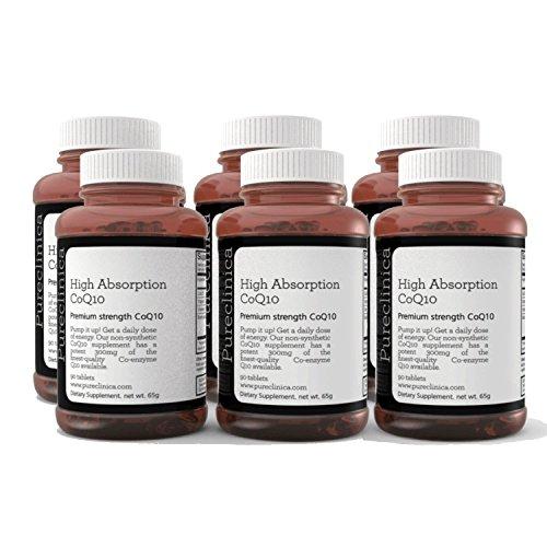 CoQ10 300mg x 540 Tabletten – (6 Flaschen mit je 90 Tabletten) 18 Monate Vorrat. Mit Vitamin C und Piperin (Schwarzpfeffer-Extrakt). SKU: CQ3x6