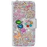 evtech (TM) Fiore Corona Bling Cristallo Diamante del foglio di stile del libro di cuoio del raccoglitore di vibrazione con borsa a mano il supporto del & carte credito -